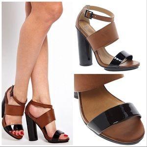 ASOS Black Brown Hocus Heeled Sandals EUC Sz 6